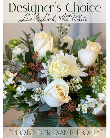 Designer's Choice Low & Lush - All White Flower Arrangement