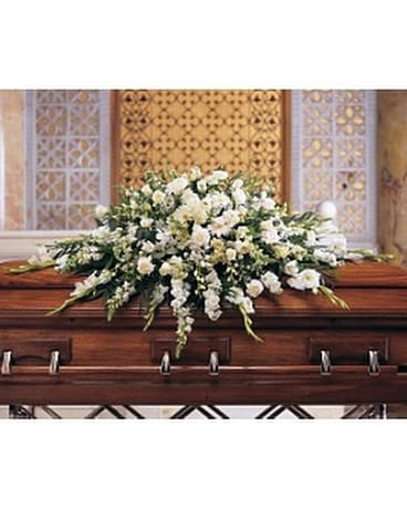 Deluxe Pure White Casket Spray Flower Arrangement