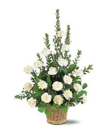 White Simplicity Basket Flower Arrangement
