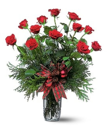 Holiday Red Roses Flower Arrangement