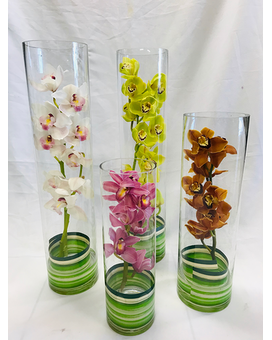 Elegant orchids in Cylinder Vase Flower Arrangement