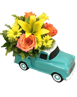 Cheerful Chevy Flower Arrangement