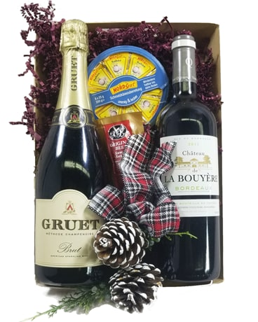 Wine Gift Basket Flower Arrangement