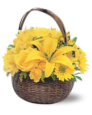 Yellow Flower Basket Flower Arrangement
