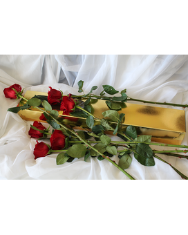 12 Premium Roses in the Golden Box Flower Arrangement