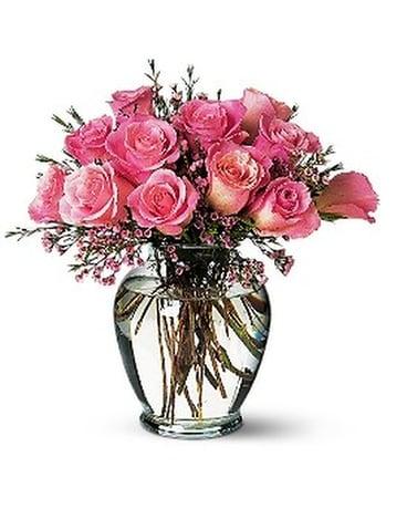 Pink Birthday Roses Flower Arrangement