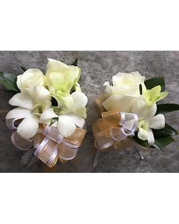 Wrist Corsage/Boutonniere-White Orchids/Red Roses Flower Arrangement