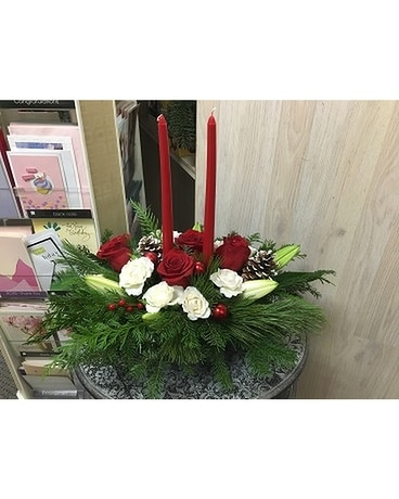 Traditional Holidays Centerpiece with Candles by V Flower Arrangement
