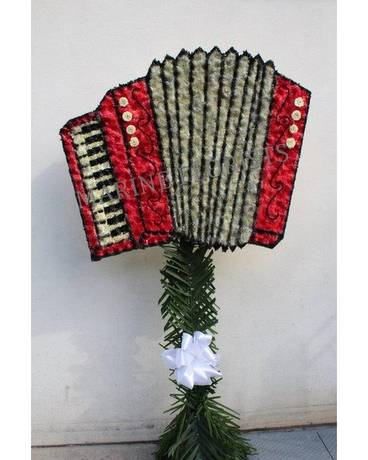 Funeral Custom Red Accordion In Brooklyn Ny Marine Florists