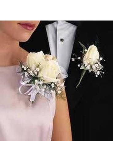 Double White Rose Corsage with Boutonniere Combo Corsage