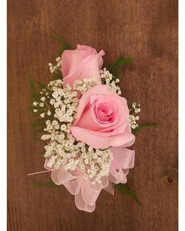 Double Pink Rose Corsage