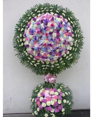 Pink blue purple and white wreath top bottom in brooklyn ny pink blue purple and white wreath top bottom flower arrangement mightylinksfo