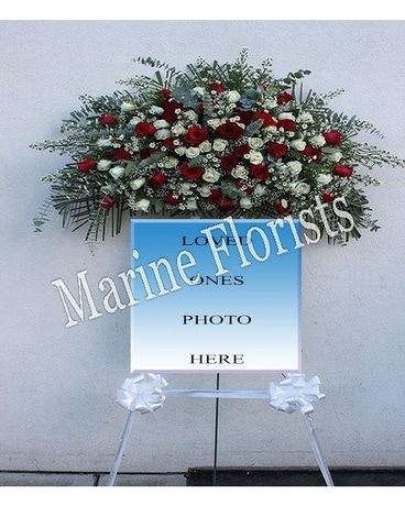 Frame Swag Red and White Roses Flower Arrangement