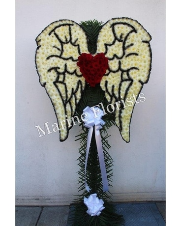 Angel Wings with Red Rose Heart Flower Arrangement