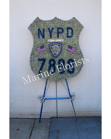 NYPD Badge with Flags