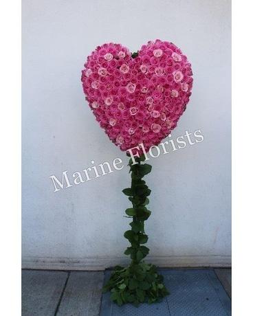 Hearts delivery brooklyn ny marine florists shades of pink roses heart mightylinksfo