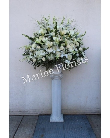 All White Calla, Orchids, Roses and Hydrangea Stan Flower Arrangement