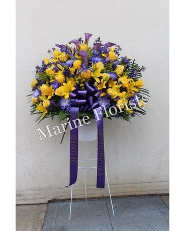 Yellow and purple standing basket in brooklyn ny marine florists yellow and purple standing basket flower arrangement mightylinksfo