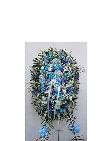 Funeral Spray- Blue And White Sympathy Arrangement