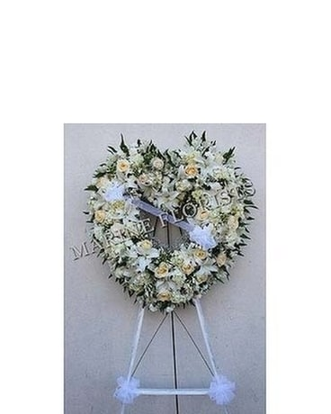 Funeral Open Heart - All White Sympathy Arrangement
