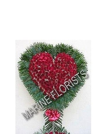 Funeral Bleeding Heart - All Roses Sympathy Arrangement