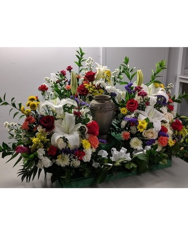 Memorial Urn Colorful Sympathy Arrangement
