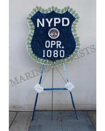 NYPD 911 Comm Division Badge Flower Arrangement