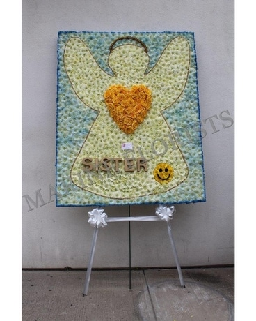 Angel Silhouette with Yellow Heart Flower Arrangement