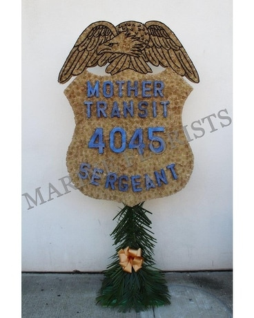 NYC Transit Police Sergeant Badge Flower Arrangement