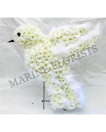 White Dove with Feathers Flower Arrangement