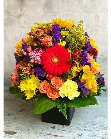 Radiant Rainbow Flower Arrangement