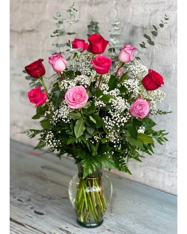 Ultimate Elegance Long Stem Pink & Red Roses Flower Arrangement