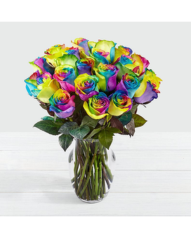 Time to Celebrate Rainbow Rose Bouquet Flower Arrangement