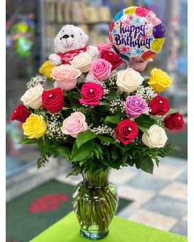 Happy Birthday Roses & Balloons Flower Arrangement