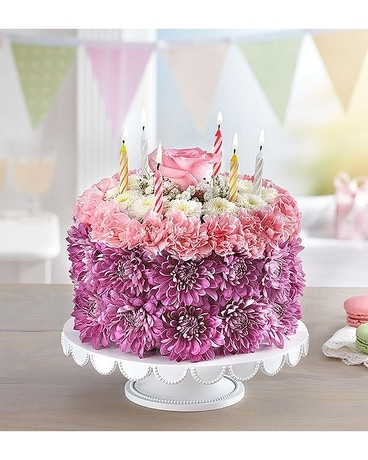 Birthday Wishes Pastel Cake Flower Arrangement