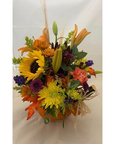 Festive Fresh pumpkin Flower Arrangement