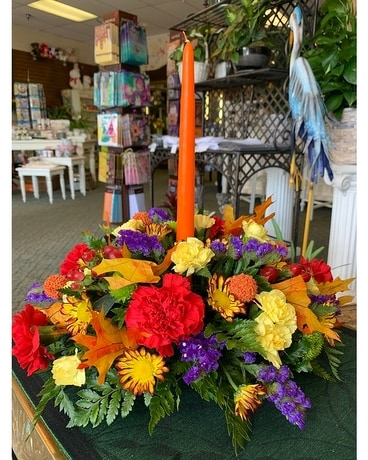 Fall Candle Centerpiece Flower Arrangement