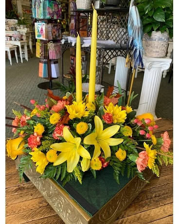 Harvest Delight with candles Flower Arrangement