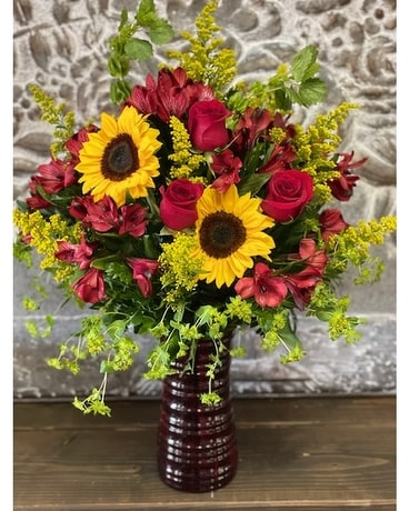 Sunshine & Roses Flower Arrangement
