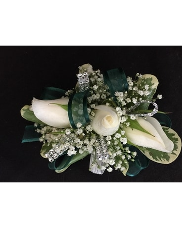 Emerald green & white Corsage Custom product