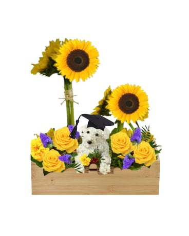 Poodle in the Garden Flower Arrangement