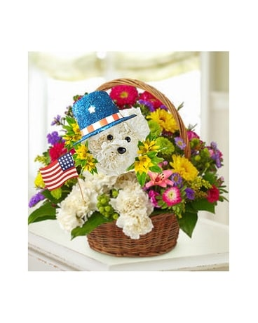 Patriotic Poodle Flower Arrangement