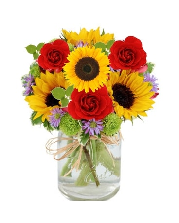 Sumer Mason Jar Bouquet Flower Arrangement
