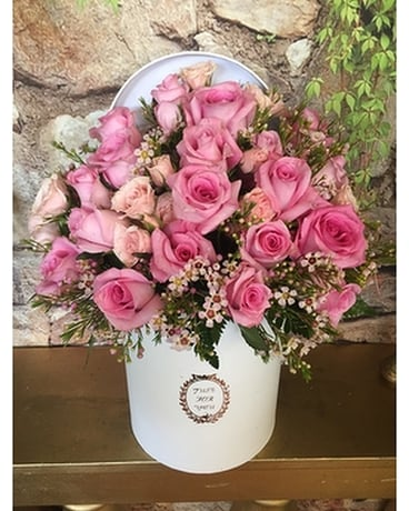 Flower Box with Pink Roses Flower Arrangement