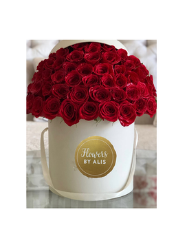 Red Roses in White flower box Flower Arrangement