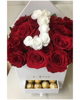 Roses in Box with Letter Flower Arrangement