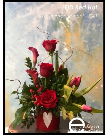EID Red Hot Flower Arrangement
