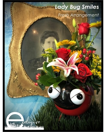 Lady Bug Smiles Flower Arrangement