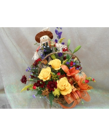 Scarecrow Basket Bouquet Flower Arrangement