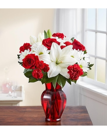 White and Red Joy Flower Arrangement